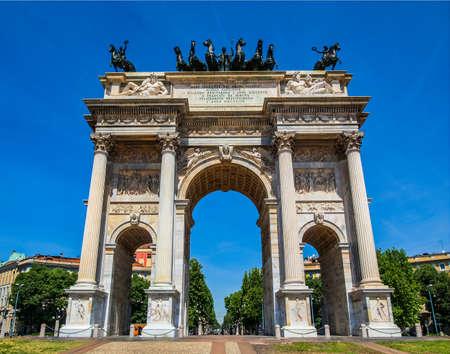 high dynamic range: High dynamic range HDR Arco della Pace (Arch of Peace), Porta Sempione, Milan, Italy Stock Photo