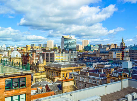 High dynamic range HDR Aerial view of the city of Glasgow, Scotland 免版税图像 - 60592150