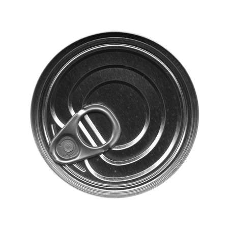 tin can: Tin can for canned food isolated over white in black and white