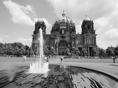 dom: BERLIN, GERMANY - CIRCA JUNE 2016: Berliner Dom meaning Berlin Cathedral church in black and white