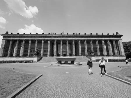 antiquities: BERLIN, GERMANY - CIRCA JUNE 2016: Altes Museum (meaning Museum of Antiquities) in Museumsinsel (meaning Museums Island) in black and white