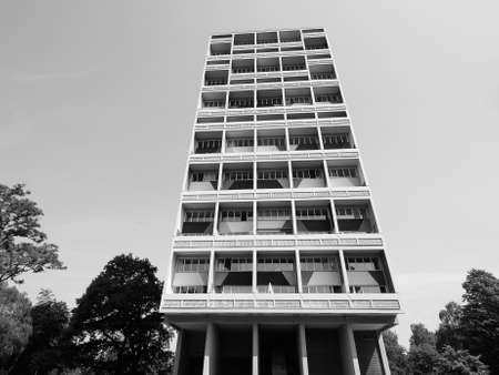 rationalism: BERLIN, GERMANY - CIRCA JUNE 2016: The Corbusier Haus designed by Le Corbusier in 1957 in black and white