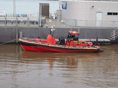 rescue service: LIVERPOOL, UK - CIRCA JUNE 2016: Marine rescue unit of Merseyside Fire and Rescue service