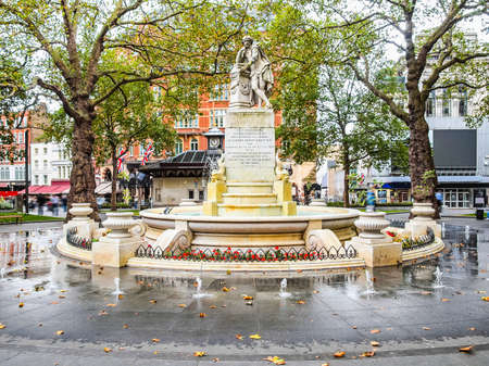 leicester: High dynamic range HDR Statue of William Shakespeare (year 1874) in Leicester square London UK Stock Photo