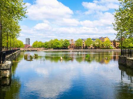 High dynamic range HDR Surrey Water docks in Docklands, London, UK