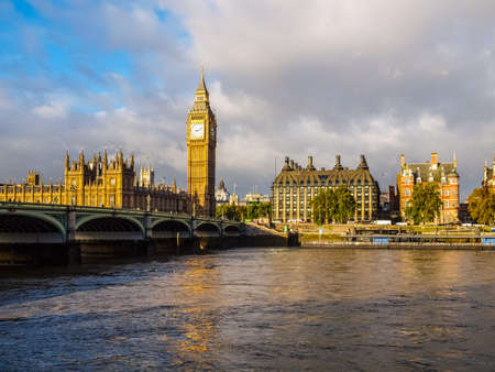 westminster bridge: High dynamic range HDR Westminster Bridge panorama with the Houses of Parliament and Big Ben in London UK Stock Photo