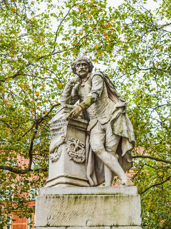 High dynamic range HDR Statue of William Shakespeare (year 1874) in Leicester square London UK Editorial