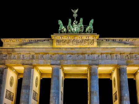 brandenburg gate: High dynamic range HDR Brandenburger Tor meaning Brandenburg Gate in Berlin, Germany at night