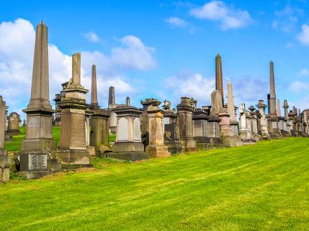 necropolis: High dynamic range HDR The Glasgow necropolis, Victorian gothic garden cemetery in Scotland