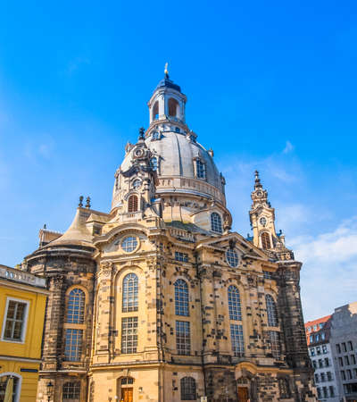 meaning: High dynamic range HDR Dresdner Frauenkirche meaning Church of Our Lady in Dresden Germany
