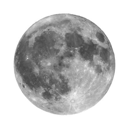 astrophoto: Full moon seen with an astronomical telescope, isolated over white