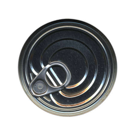 tin can: Tin can for canned food isolated over white