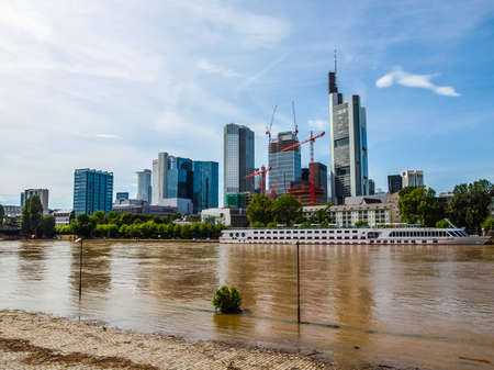 river main: High dynamic range HDR View of the city of Frankfurt am Main from the River Main Stock Photo