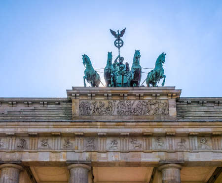 brandenburg gate: High dynamic range HDR Brandenburger Tor Brandenburg Gate famous landmark in Berlin Germany Stock Photo