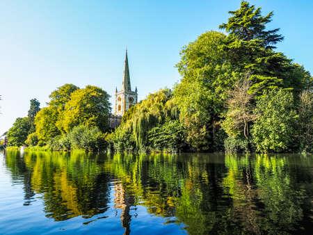 stratford upon avon: High dynamic range HDR Holy Trinity church seen from River Avon in Stratford upon Avon, UK
