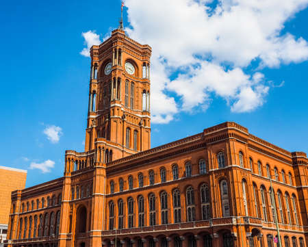 high dynamic range: High dynamic range HDR Rotes Rathaus meaning The Red Town Hall in Berlin, Germany