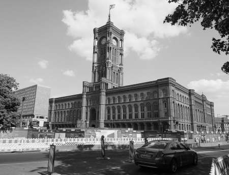 municipal editorial: BERLIN, GERMANY - CIRCA JUNE 2016: Rotes Rathaus meaning The Red Town Hall in black and white Editorial