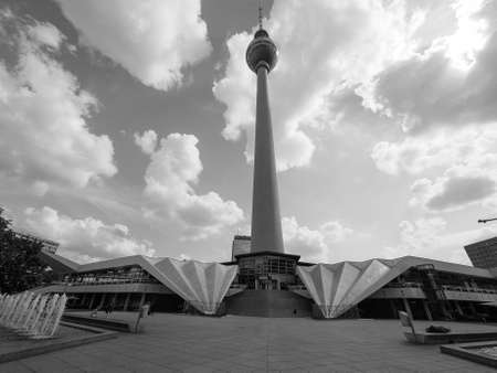 republik: BERLIN, GERMANY - CIRCA JUNE 2016: Fersehturm meaning Television tower in Alexanderplatz in black and white Editorial