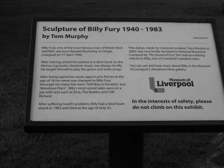 fury: LIVERPOOL, UK - CIRCA JUNE 2016: Monument to Billy Fury, famous star of British rock and roll in black and white