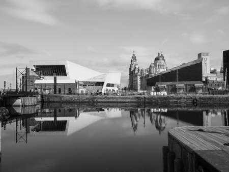 mersey: LIVERPOOL, UK - CIRCA JUNE 2016: Skyline view of the waterfront on River Mersey in black and white