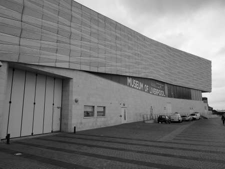 mercantile: LIVERPOOL, UK - CIRCA JUNE 2016: The Museum of Liverpool designed by Danish architects 3XN at Pier Head part of Liverpool Maritime Mercantile City in black and white