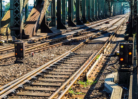 railtrack: High dynamic range HDR Detail of Railway railroad tracks for trains