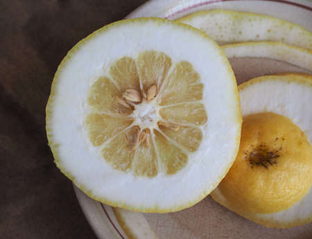 Citron (Citrus Medica) citrus fruit vegetarian food sliced in a dish