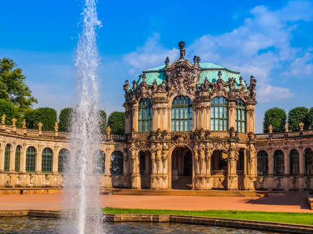 addition: High dynamic range HDR Dresdner Zwinger rococo palace designed by Poeppelmann in 1710 as orangery and exhibition gallery of Dresden Court completed by Gottfried Semper with the addition of the Semper Gallery in 1847
