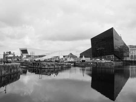 LIVERPOOL, UK - CIRCA JUNE 2016: Skyline view of the waterfront on River Mersey in black and white