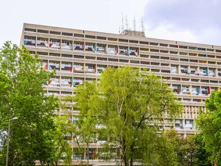 rationalist: BERLIN, GERMANY - MAY 11, 2014: The Corbusier Haus was designed by Le Corbusier in 1957 following his concept of Unite dHabitation (Housing Unit) (HDR)