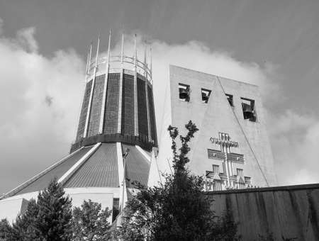 frederick: LIVERPOOL, UK - CIRCA JUNE 2016: Liverpool Metropolitan Cathedral aka Metropolitan Cathedral of Christ the King designed by Sir Frederick Ernest Gibberd in 1967 in black and white Editorial
