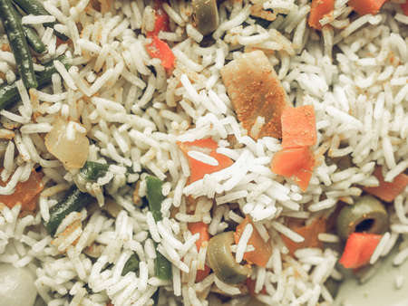 desaturated: Vintage desaturated Curry rice with season vegetables vegetarian Indian food