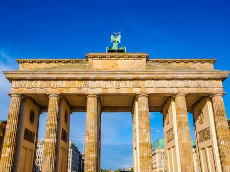 High dynamic range HDR Brandenburger Tor Brandenburg Gate famous landmark in Berlin Germany Stock Photo