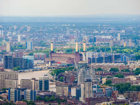 battersea: High dynamic range HDR Aerial view of Battersea Power Station of London, UK