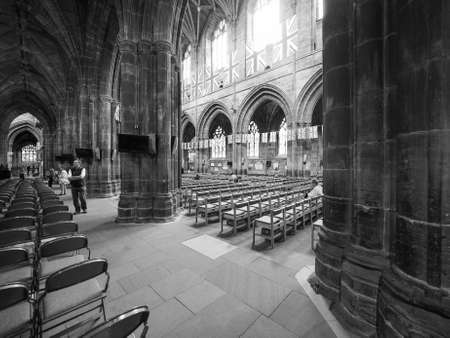 anglican: CHESTER, UK - CIRCA JUNE 2016: Chester Anglican Cathedral church in black and white