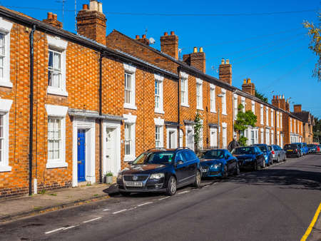 typically british: STRATFORD UPON AVON, UK - SEPTEMBER 26, 2015: A row of typically British terraced houses aka townhouse (HDR)