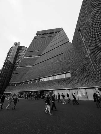 powerstation: LONDON, UK - CIRCA JUNE 2016: The Switch House at Tate Modern art gallery in South Bank power station in black and white