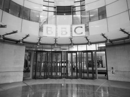 bbc: LONDON, UK - CIRCA JUNE 2016: BBC Broadcasting House headquarters of the British Broadcasting Corporation in Portland Place in black and white Editorial
