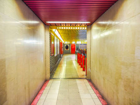 hdr: MILAN, ITALY - MARCH 28, 2015: Modern underground station entrance (HDR)