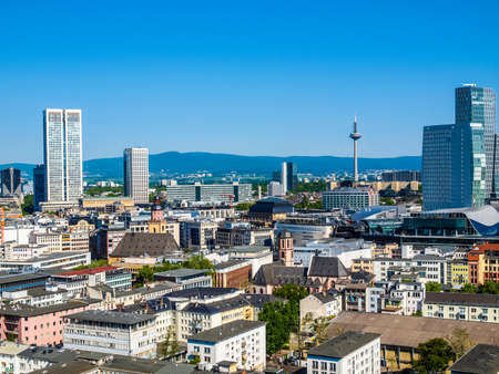High dynamic range HDR Aerial view of the city of Frankfurt am Main in Germany Stock Photo