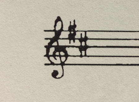 key signature: Blank ruled score for writing music with treble clef and C and F sharp accidental key signature