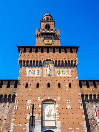 castello: High dynamic range HDR Castello Sforzesco meaning Sforza Castle in Milan Italy