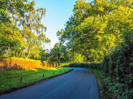 warwickshire: High dynamic range HDR Country road in Warwickshire, England, UK Stock Photo