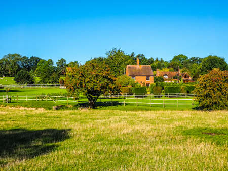 warwickshire: High dynamic range HDR English countryside in Tanworth in Arden Warwickshire, UK Stock Photo