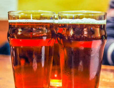 alcoholic drink: High dynamic range (HDR) Three pints of beer alcoholic drink