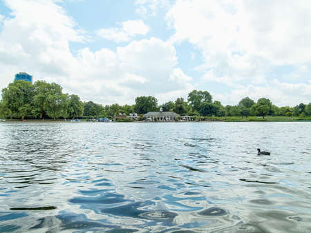 High dynamic range HDR Serpentine lake river in Hyde Park Kensington Gardens London UK Stock Photo
