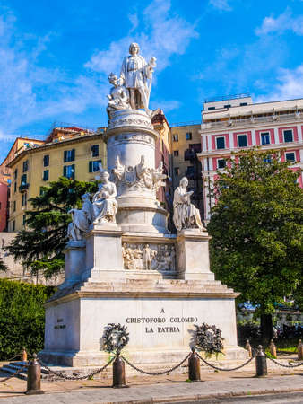 High dynamic range HDR Monument to Christopher Columbus in Genoa Italy