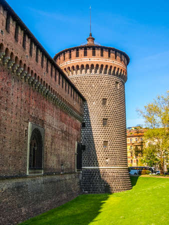 sforza: High dynamic range HDR Castello Sforzesco (Sforza Castle) in Milan Italy Editorial