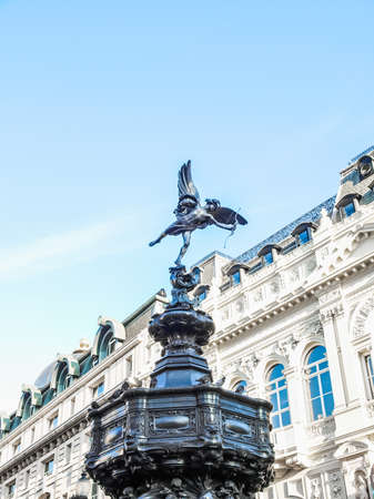 High dynamic range HDR Piccadilly Circus with statue of Anteros aka Eros in London, UK