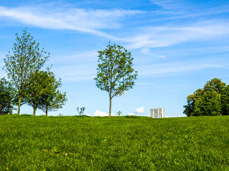 hill range: High dynamic range HDR Primrose Hill park in London, England, UK